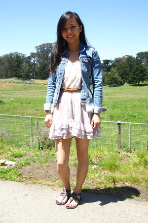 light purple dragonfly-lace Topshop dress - blue denim H&M jacket - dark brown g