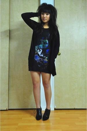 black Lux cardigan - black H&M shirt - black H&M boots