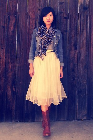 mesh tulle Ebony Eyes skirt - TUK boots - denim H&M jacket