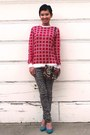 Red-waffle-print-forever-21-sweater-ruby-red-forever-21-purse