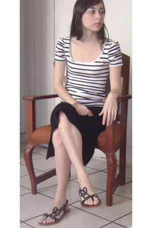 black Addict sandals - white striped Zara shirt - black gef skirt