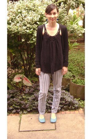 blue striped Esprit pants - black Mango cardigan - black Naf Naf top