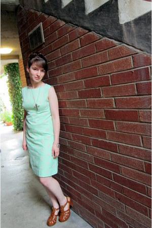 aquamarine vintage dress - brown kork-ease shoes - silver vintage necklace