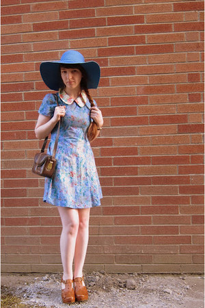 sky blue DIY dress - blue sun hat Target hat - brown kodak bag