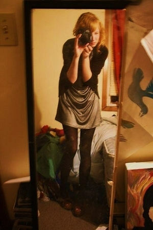dress - H&M sweater - tights - Minnetonka shoes