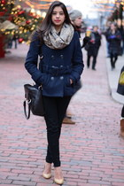 navy fur collar H&M coat - tan Steve Madden heels - black skinny Aritzia pants