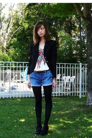 Forever21 blazer - ae top - ae shorts - Target tights - moms old belt - poetic l