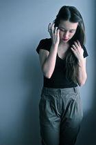 green H&M pants - black H&M t-shirt - silver H&M Mimi and Stockmann accessories