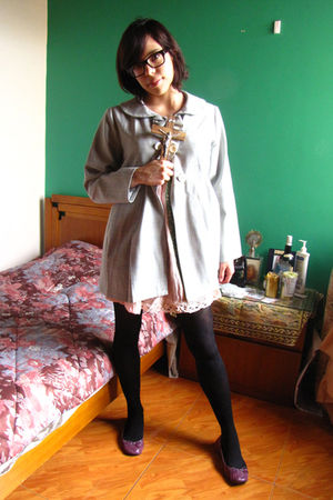 silver unknown coat - pink unknown dress - purple shoes