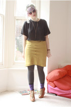 olive green silk thrift skirt - brown wedge lace up Topshop shoes