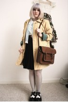 mustard oversized vintage coat - black broguess doc martens shoes