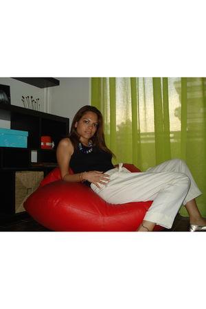 black intimissimi top - Mango pants - Topshop shoes - Dorothy Perkins necklace