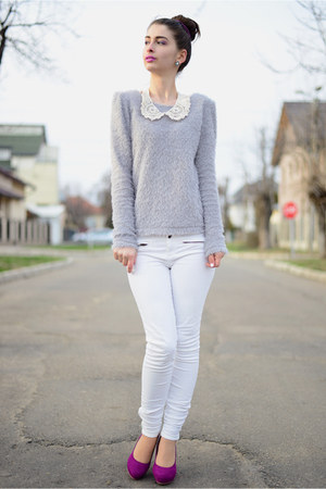 fluffy romwe sweater - H&amp;M shoes - pull&amp;bear pants - new look necklace