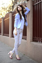 white c&a blouse - pink H&M shoes - periwinkle H&M blazer