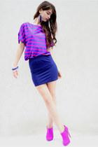 hot pink H&M shoes - amethyst Orsay shirt - navy fishbone skirt - H&M earrings