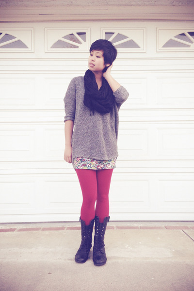 H&M sweater - red tights Express tights