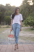 tri color bag bag - light blue subtitled pants - heeled sandals Zara sandals