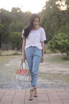 tri color bag bag - light blue subtitled pants - heeled sandals Zara sandals