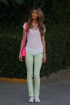 white Zara t-shirt - fluo Nasty Gal bag - pastel Cheap Monday pants