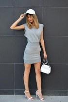 white Zara bag - grey gestuz dress - white leather Ebay hat