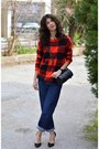 Blue-levis-jeans-plaid-choiescom-sweater-black-asos-watch