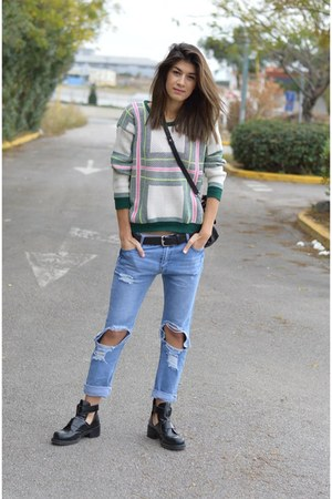 plaid Sheinsidecom sweater - cut out Aldo boots - ripped choiescom jeans