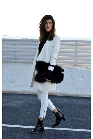 patent leather Zara boots - white Sheinsidecom coat - high neck Zara top