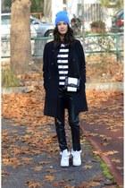 white nike sneakers - faux leather choiescom pants - striped Zara sweatshirt