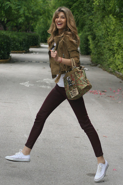 chaki gestuz jacket - pattern George Gina & Lucy bag - burgundy Zara pants