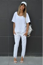 leather white asos bag - delicate white Zara heels