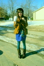 Blue-dress-brown-boots-brown-hat-brown-belt