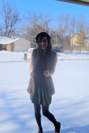 brown vest - brown tights - green Charlotte Russe dress - brown hat - brown belt