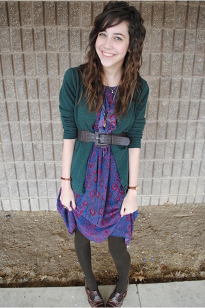 brown tights - brown shoes - purple dress - green cardigan