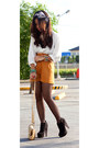 Mustard-studded-bag-purse-tawny-high-waisted-shorts-ivory-blouse