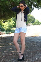 vintage cardigan - Levis shorts - Michael Kors shoes
