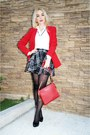 Black-zara-shoes-red-calvin-klein-blazer-red-dkny-bag