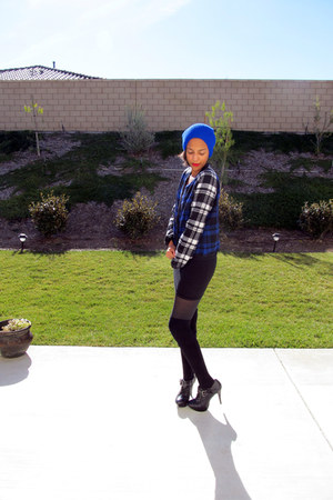 bodycon American Apparel dress - beanie asos hat - plaid Nasty Gal jacket