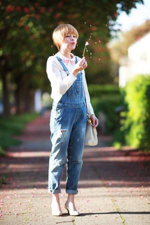 white Dolce & Gabbana bag - blue jeans Zara jumper