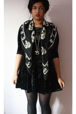 velvet new look dress - skull Primark scarf - rocking horse Primark necklace