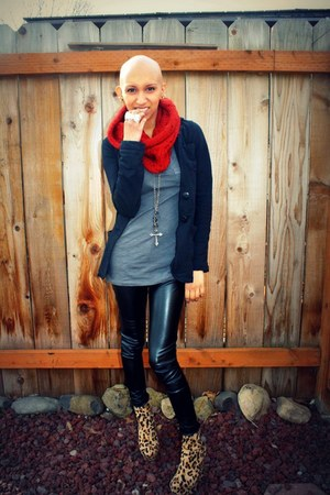 thrifted blazer - infinity Target scarf - ankle boots Make Me Chic wedges - faux