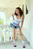 white pull&bear top - blue pull&bear shorts - white socks - red shoes