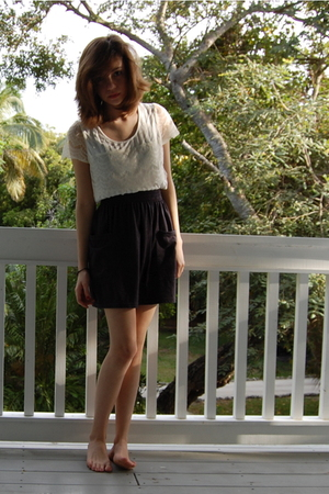 white Kimchi Blue blouse - gray American Apparel skirt