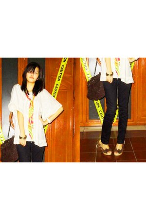 dark khaki blouse - dark brown bag - black jeans - salmon scarf - brown shoes
