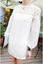 white blouson sleeve SeamsTheory dress - ivory SeamsTheory bag