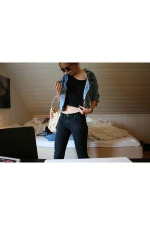 Nudie jeans - black H&M top - blue vintage jacket - gold Homemade by me purse -