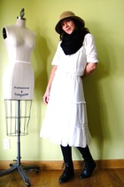 white vintage dress - black vintage boots - brown vintage hat