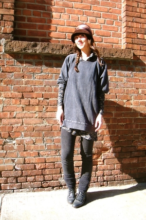 gray H&M shirt - gray vintage dress - brown vintage hat - gray BDG pants - gray