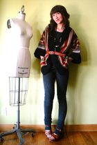 brown vintage shoes - gray walgreens accessories - black vintage cardigan