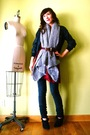 Black-members-only-jacket-gray-bdg-pants-silver-vintage-scarf-black-urban-