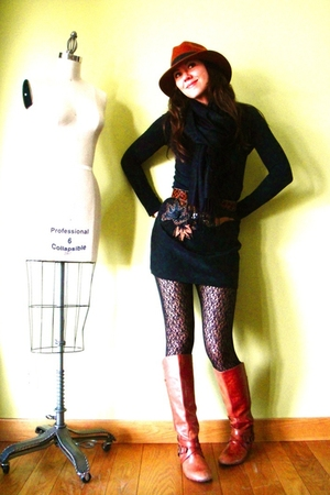 black vintage skirt - orange Miss Sixty boots - black Target leggings